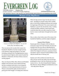 Washington State Society of Mayflower Descendants Evergreen Log Newsletter Volume 32 Issue 1 Summer 2019
