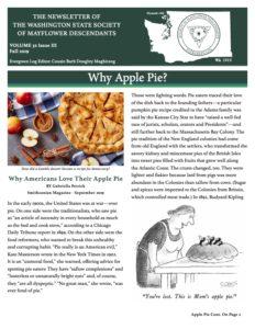 Washington State Society of Mayflower Descendants Evergreen Log Newsletter Volume 32 Issue 3 Fall 2019