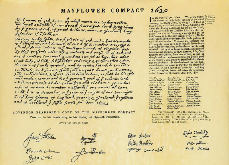 Original Image of the Mayflower Compact believed to be William Brewsters