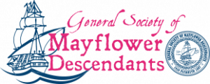 General Society of Mayflower Descendants Pre 2021 Logo outlined boat with masts on water and the seal of the General Society.